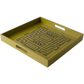 """15.5"""" Amitola Olive and Black Decorative Square Serving Tray with Handles"""