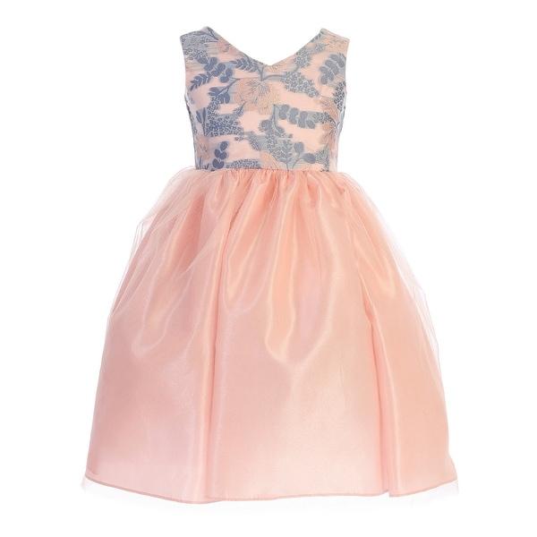 86f77ddabca0d Shop Little Girls Blue Peach V Neck Lace Taffeta Tulle Flower Girl Easter  Dress - Free Shipping On Orders Over $45 - Overstock - 27102715