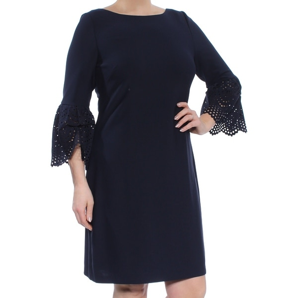 a7e89d896607 Shop JESSICA HOWARD Womens Navy Lasercut Bell Sl Boat Neck Above The Knee  Sheath Party Dress Size: 12 - Free Shipping On Orders Over $45 - Overstock  - ...