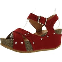 Forever Freya-23 Womens Cork Look Platform Ankle Strap Low Wedge Sandals