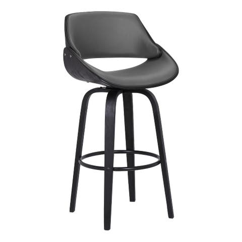 30 Inch Leatherette and Wooden Swivel Barstool, Black and Gray