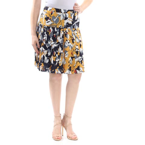 FRENCH CONNECTION Womens Yellow Color Block Knee Length Wear To Work Skirt Size: 0