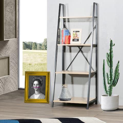 """Carbon Loft Cavendish Open Oak Wood 4-tier Storage Ladder Bookcase - 53""""*20""""*16"""""""