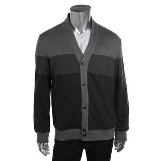 Kenneth Cole Reaction Mens Striped Button-Down Cardigan Sweater - M