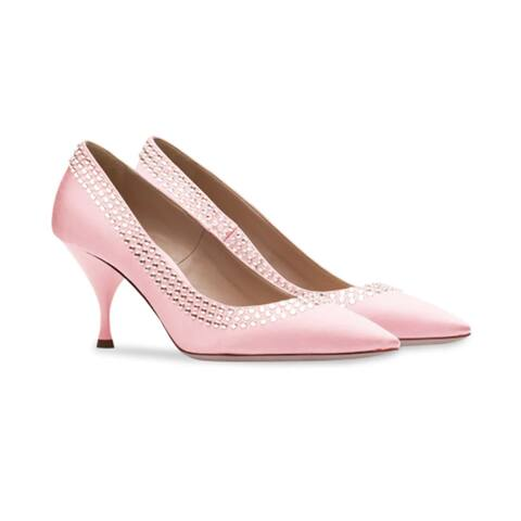 Miu Miu Women's Leather Crystal Embellished Satin Pumps Pink