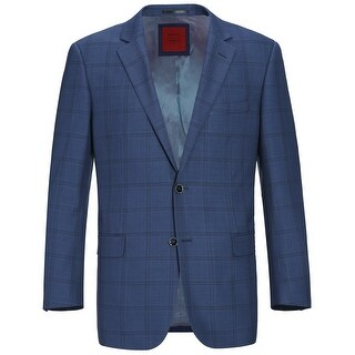 Link to Men's Classic Fit Blue Windowpane Blazer Wool-Blend Sports Coat Similar Items in Sportcoats & Blazers