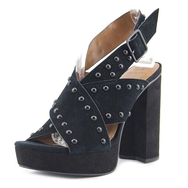 H by Halston Bailey Women Open-Toe Suede Black Slingback Heel