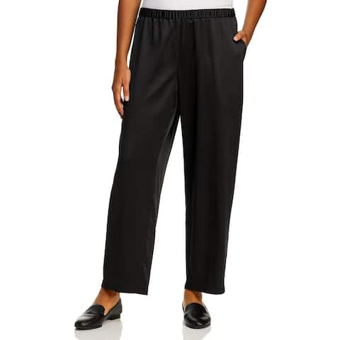 Eileen Fisher Womens Plus Straight Leg Pants Satin Shiny - Black