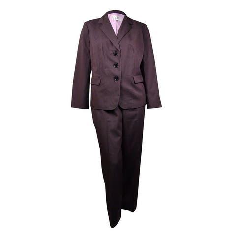 Le Suit Women's Windsor Pinstriped Pant Suit (4, Black Multi) - 4