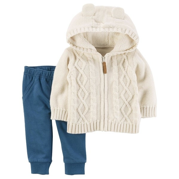 32e084c84 Shop Carter's Baby Boys' 2-Piece Cable Knit Sweater & Jogger Set, 18 Months  - Blue/White - Free Shipping On Orders Over $45 - Overstock - 20554227