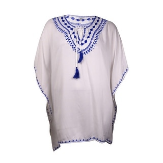 Raviya Women's Embroidered Peasant Coverup (0X, White/Navy) - 0X