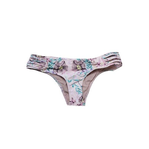 O'Neill Pink Multi Diego Floral-Print Side-Knot Cheeky Bikini Bottom XS