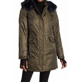 Diane von Furstenberg NEW Olive Green Womens Size XL Faux Fur Jacket