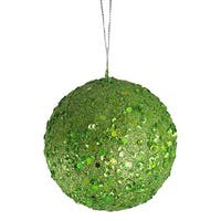 4 in. Fancy Lime Green Holographic Glitter Drenched Christmas Ball