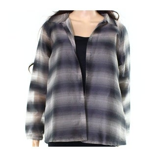 Lafayette 148 NEW Gray Womens Size Small S Open-Front Topper Jacket