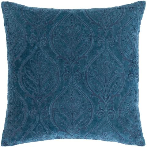 Talan Velvet Damask Embroidered Throw Pillow