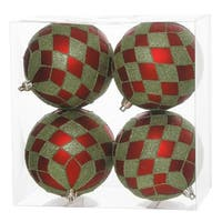 "Pack of 4 Matte Red and Lime Green Glitter Diamond Christmas Ball Ornaments 4.75"" (121mm)"