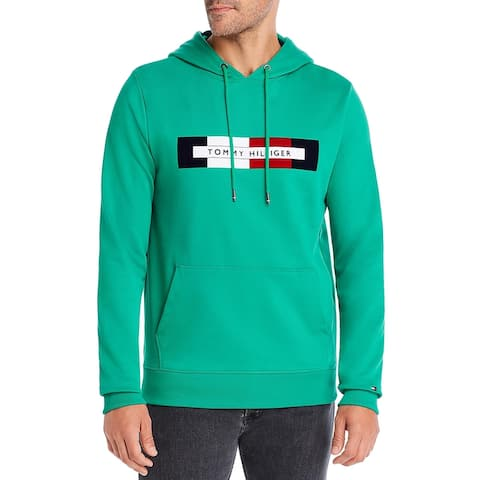 Tommy Hilfiger Mens Hoodie Cotton Logo - Green - S