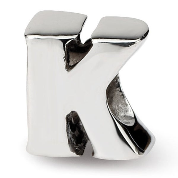 Sterling Silver Reflections Letter K Bead (4mm Diameter Hole)