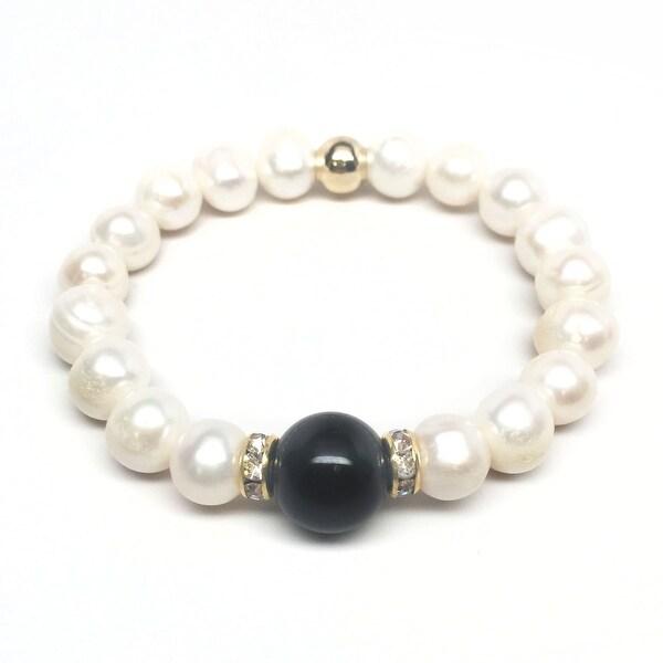 "Freshwater Pearl & Black Onyx Joy 7"" Bracelet"