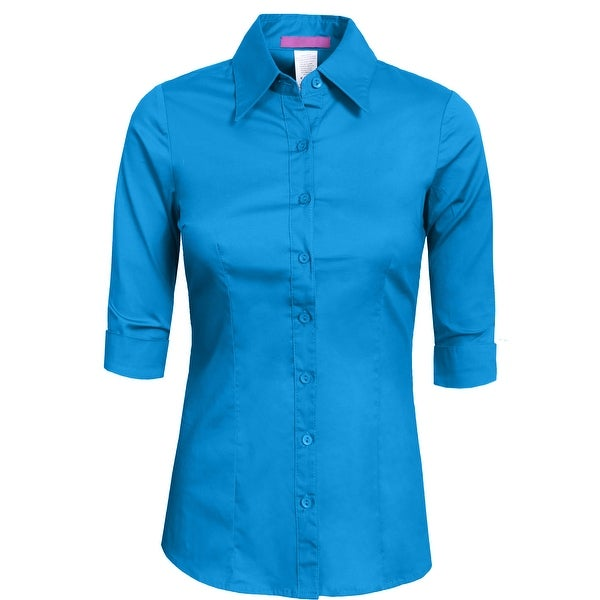 NE PEOPLE Womens Tailored 3/4 Sleeve Button Down Shirt [NEWT05]