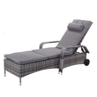 Gymax Adjustable Outdoor Patio Chaise Lounge Cushioned Recliner Chair Furniture