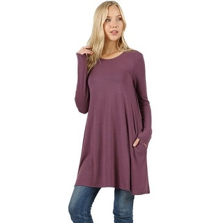 Link to JED Women's Soft Fabric Extra Long Swing Tunic with Side Pockets Similar Items in Shirts
