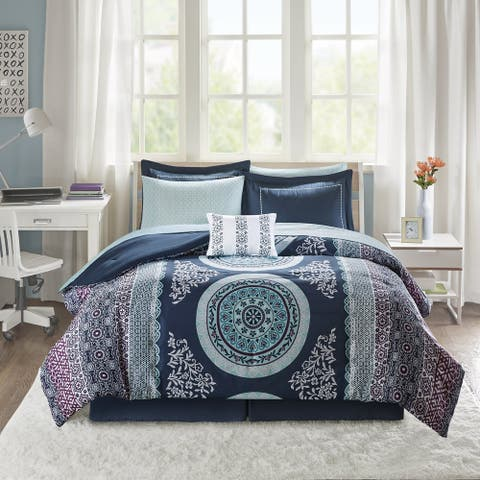 Eleni Navy Medallion Reversible Comforter and Sheet Set by Intelligent Design