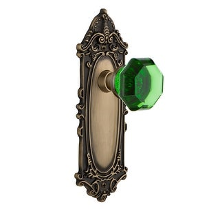 "Nostalgic Warehouse VICWAE_PRV_238_NK  Victorian Rose Privacy Door Knob Set with Emerald Waldorf Knob for 2-3/8"" Backset"