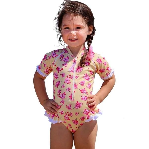 e0580c08f97a9e Sun Emporium Baby Girls Yellow Pink Cherry Blossom Print Frill Swimsuit