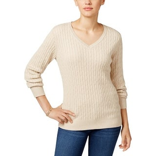 Karen Scott Womens V-Neck Sweater Cable Knit Ribbed Trim