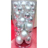 "40-Piece Silver Collection Glass Ball Christmas Ornament Set 1"", 1.25"", 2.5"""