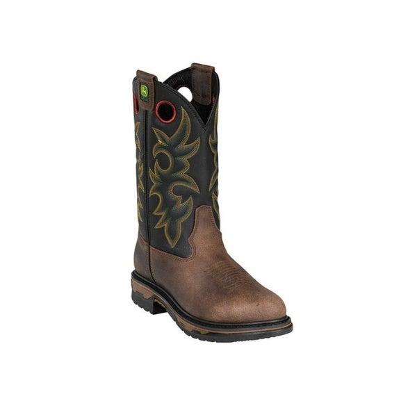 John Deere Work Boots Mens Steel Toe Cowboy Cheyenne Black