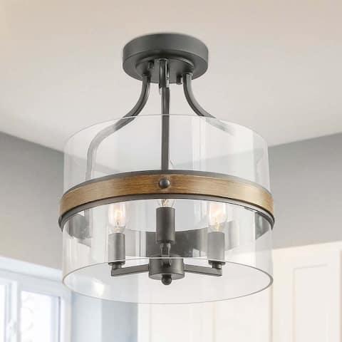 "Carbon Loft Skully 3-light Semi-Flush Mount Drum Glass Ceiling Light - W 12""x H 14.6"""