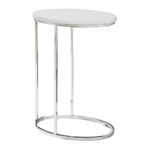 """25"""" White and Silver Contemporary Oval Accent Table - N/A"""