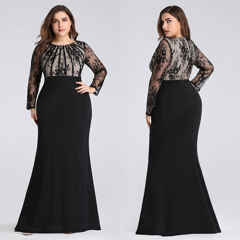 Ever-Pretty Women's Plus Size Lace Long Sleeve Mermaid Evening Prom Dress 07771