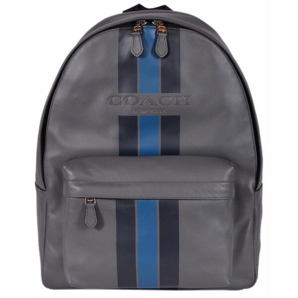 f99f96a13bd4 Coach Men  x27 s F72237 Grey Blue Leather Varsity Charles Backpack Rucksack