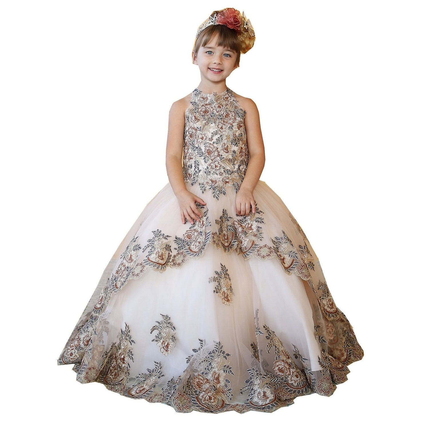 Calla Collection Little Girls Champagne Floral Lace Flower Girl Dress 2T-6X