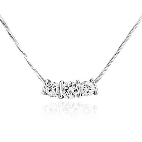 2CT Three Stone Past Present Future Bridal Solitaire Cubic Zirconia AAA CZ Necklace For Women Prom Silver Plated Brass