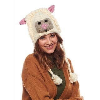 Little Lamb Wool Knit Animal Hat with Fleece Lining