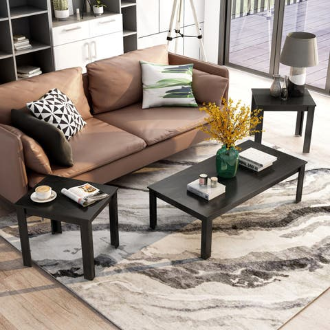 Furniture of America Byer Modern Black Wood 3-piece Accent Table Set