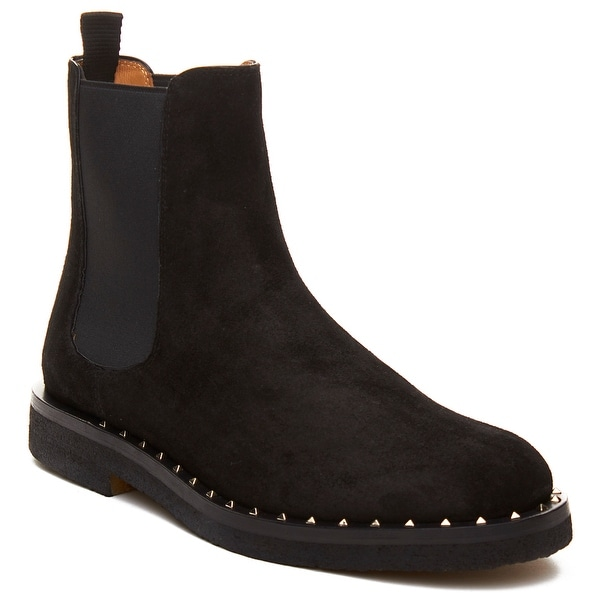 Valentino Men's Leather Studded Chelsea Boot Shoes Black
