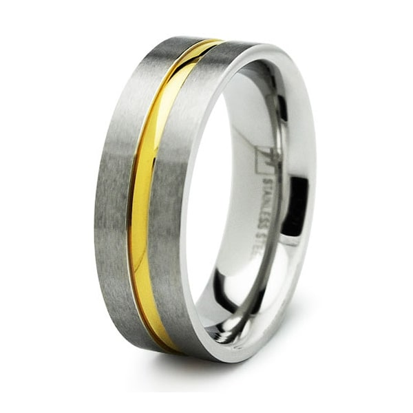 Satin Finished Stainless Steel Ring with Gold Plated Groove 7mm (Sizes 8-13)