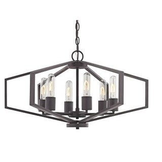 "Dolan Designs 1145 Hexagon 26"" Wide 6 Light Cage Style Chandelier with Open Metal Frame"