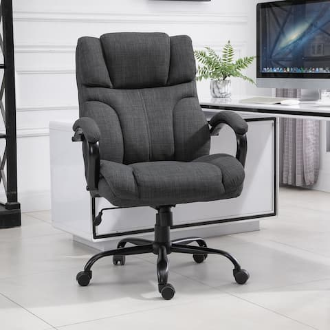 Vinsetto Swivel Ergonomic Big & Tall Office Computer Desk Chair with 5 Univeral Wheels & a Linen Finish
