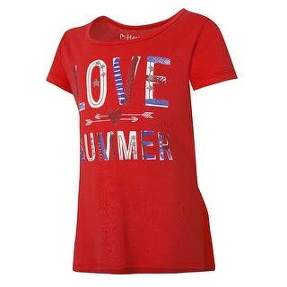 Hanes Girls' Patriotic Summer Peplum Tee - Size - L - Color - Patriotic Summer/Red Spark