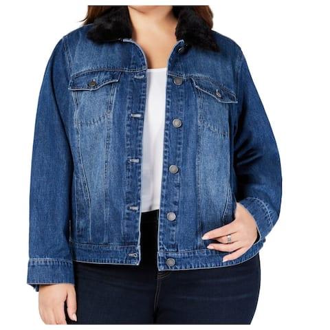 Style & Co. Women's Blue Size 14W Plus Faux-Fur Collar Denim Jacket