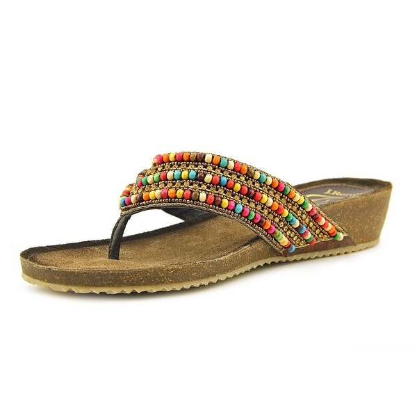 J. Renee Opuna Women Open Toe Leather Multi Color Thong Sandal
