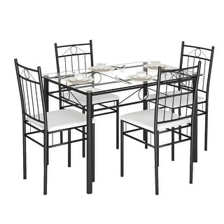 5 Piece Dining Set Glass Metal Table and 4 Chairs Kitchen Dining Room Furniture - White+ Black
