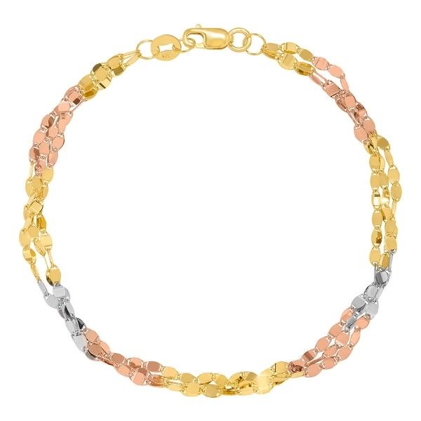 Just Gold Triple-Strand Oval Link Bracelet in 10K Three-Tone Gold - Tri-Color